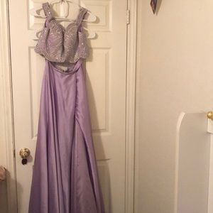Lilac Two Piece Off the Shoulder Prom Dress